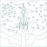 Cartoon Flying Rocket in the Sky.  Contour vector Royalty Free Stock Photos