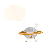 Cartoon flying saucer with thought bubble Stock Images
