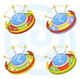 Cartoon flying saucers Stock Photos