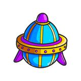 Space. Cartoon flying saucers hand drawn color illustration. Cute UFO. Space shuttle cliparts. Doodle spaceship. Aliens. Spacecraft sticker. Cosmic patch royalty free illustration