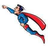 Cartoon flying superhero illustration Stock Photos