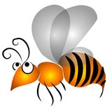 Cartoon Flying Wasp Clip Art. An abstract cartoon clip art illustration of a yellow and black wasp flying through the air on a white background stock illustration