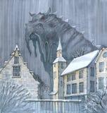 Cartoon foggy monster. Legend of a foggy monster in a little town Stock Photos