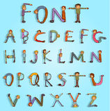 Cartoon font - Hand Drawn Vector illustration Royalty Free Stock Images