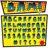 Cartoon font pop art style. Pop art font,alphabet set with halftone texture effect,comic style Royalty Free Stock Photo