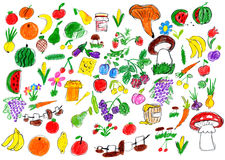 Cartoon food collection, fruit and vegetables, child drawing object set on paper, hand drawn art picture Stock Image