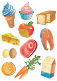 Cartoon food icons Royalty Free Stock Photography