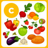 Cartoon food with vitamin E. Royalty Free Stock Images