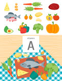 Cartoon Food with Vitamin A. Vector. Cartoon Food with Vitamin A Concept Healthy Nutrition or Diet Flat Design Style. Vector illustration Royalty Free Stock Photography