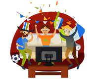 Cartoon football party at home in cozy atmosphere. Friends cheering favourite football team vector illustration. Sport and friendship concept. Isolated on vector illustration