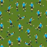 Cartoon Football Players Seamless Pattern Background. Vector Royalty Free Stock Photos