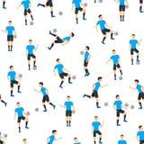 Cartoon Football Players Seamless Pattern Background. Vector Stock Photos