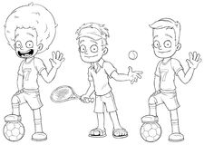 Cartoon football tennis players character vector set Royalty Free Stock Photo