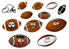 Cartoon footballs and rugby balls characters Stock Photography