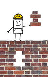 Cartoon foreman holding a missing piece for a wall Royalty Free Stock Images