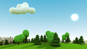 Cartoon Forest. Cartoon landscape of green forest with sun, bright blue sky and one cloud Royalty Free Stock Image