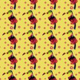 Pattern, cartoon toucan vector illustration. Cartoon forest amazonian character, toucan, yellow background with flowers,desing element for sketch pad, posters stock photos