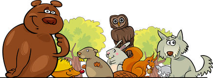 Cartoon forest animals design. Cartoon illustration of Forest Animals header design Royalty Free Stock Photos