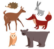 Cartoon forest animals set. Cute cartoon forest animals set: bear deer fox owl rabbit hedgehog Royalty Free Stock Photo
