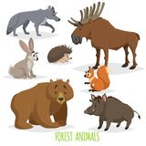 Cartoon forest animals set. Wolf, hedgehog, moose, hare, squirrel, bear and wild boar. Funny comic creature collection. stock illustration