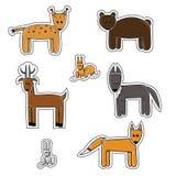 Cartoon forest animals sticker Stock Photo