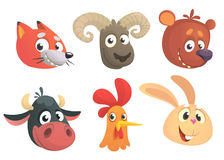 Cartoon forest animals. Vector illustration. Fox, sheep, bear, cow, rooster or chicken, rabbit Stock Photo