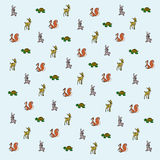 Cartoon forest animals wallpaper. With squirrel, roe, turtle and rabbit stock illustration