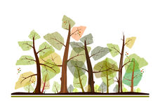 Cartoon forest. In autumn colors. Background element in your design Royalty Free Stock Photos