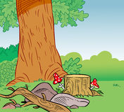 Cartoon forest background Royalty Free Stock Images