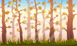 Cartoon Forest Background Landscape. Cartoon forest game background landscape in autumn with fantastic trees, sunlights and green grass, eps10 make transparents Stock Photo