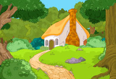 Cartoon Forest Cabin. Rural Cartoon Forest Cabin Landscape Stock Images