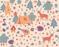Cartoon forest camping pattern. stock illustration