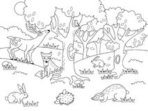 Cartoon forest coloring vector illustration. Black and white image Royalty Free Stock Photo