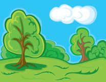 Cartoon forest landscape Stock Images