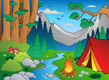 Cartoon Forest Landscape 4 Royalty Free Stock Image