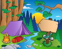 Cartoon forest landscape 6. Illustration Stock Images