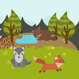 Cartoon forest landscape Stock Image