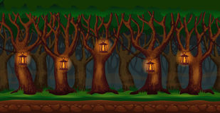 Cartoon forest at night video game background Royalty Free Stock Photography