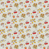 Cartoon forest pattern. Seamless pattern with forest elements, scalable and editable vector illustration Stock Photography