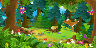Cartoon forest scene with animals - scene for different fariry tales vector illustration