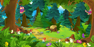 Cartoon Forest Scene - Background For Different Fairy Tales Stock Photo