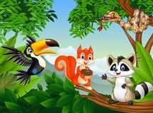 Cartoon forest scene with different animals. Illustration of Cartoon forest scene with different animals Royalty Free Stock Image
