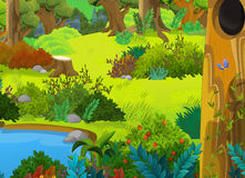 Cartoon forest - scene for different fairy tales. Colorful and beautiful illustration for the children royalty free illustration