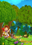 Cartoon forest scene - girl waving for goodbye to someone outside stage - good for different fairy tales. Happy and colorful cartoon illustration for children stock illustration