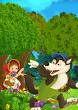 Cartoon forest scene - wolf waving little girl for goodbye - good for different fairy tales Royalty Free Stock Image