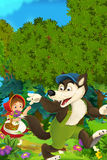 Cartoon forest scene - wolf waving little girl for goodbye - good for different fairy tales Stock Photography