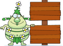 Cartoon Forest Sprite Sign Stock Photos
