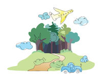 Cartoon forest,toycar,plane. Plane vojage colourful fairitale forest stock illustration