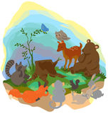 Cartoon forest wilderness landscape with many wildlife animals s. Urrounding the tree trunk grub Stock Images