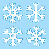 Cartoon four snowflakes Stock Images